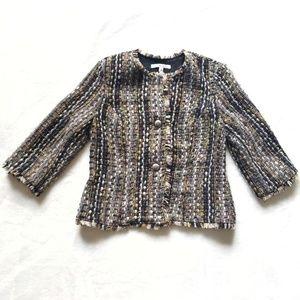 CAbi Paris Boucle Textured Silver Buttons Jacket S